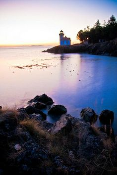 Lime Kiln Lighthouse at Lime Kiln State Park in Friday Harbor, WA, USA
