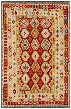 """KILIM HERAT 303x198. Alfombra Kilim Herat. Kilim Herat. Kilim anudado a mano con lana autóctona por las tribus """"turkemanas"""" en el norte de Afganistán. Los diseños utilizados son bellas estilizaciones de formas tradicionales como el """"boteh"""", octogonos, rombos engarzados... Wool Runners, Kilims, Lana, Rugs, Home Decor, Kilim Rugs, Norte, Traditional, Shapes"""