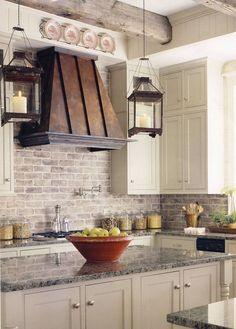 brick backsplash + metal hood + hurricane pendants + marble Farmhouse Kitchen Cabinets, Modern Farmhouse Kitchens, Kitchen Redo, New Kitchen, Home Kitchens, Farmhouse Decor, Kitchen Ideas, Kitchen Country, Kitchen Rustic