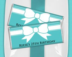 Tiffany and Co Birthday Party Ideas: Personalize wrapped candy bars with your name! Available in Tiffany Blue.