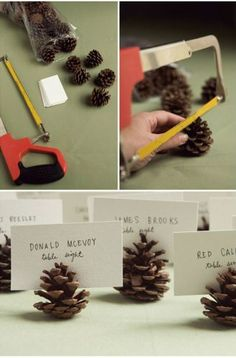 Good Ideas For You   Diy Pinecone Decorations could glitter the edges of these and use as placecard holders?
