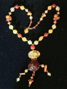 Art Deco Vintage Amber Confetti Lucite Large Pendant Bead Statement Necklace