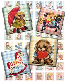 Retro kids, toys animals Square 1x1inch printable images Digital Collage Sheet Pendants
