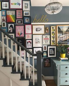 How to create a gallery wall in your home. Stairway gallery wall display featuring Block Design Hello Wall Hook in Yellow. Gallery Wall Staircase, Staircase Wall Decor, Stair Walls, Stairs Feature Wall, Stairway Wall Art, Gallery Wall Art, Picture Wall Staircase, Hallway Art, Picture Walls
