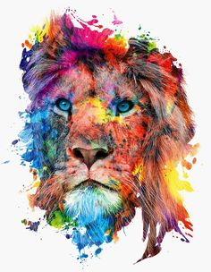 Lion watercolor painting print by Slaveika Aladjova, art, animal ...