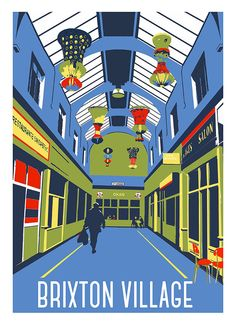 Brixton Village Market South London Limited by RedFacesPrints market, Brixton Village Market, South London – Limited Edition Giclee Print - Framed or Unframed London Sign, London Now, South London, Brixton Market, Modern Art Styles, Art Deco Posters, Retro Posters, Art Deco Print, Vintage Travel Posters