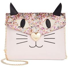 Betsey Johnson Sequin Cat Clutch found on Polyvore featuring bags, handbags, clutches, accessories, purses, blush, cat handbag, chain strap purse, chain strap handbag and cat purse