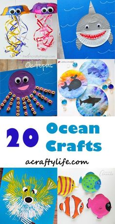 ocean kid crafts - crafts for kids- kid crafts - octapus - shark - jellyfish - fish - acraftylife.com #preschool #kidscraft #craftsforkids