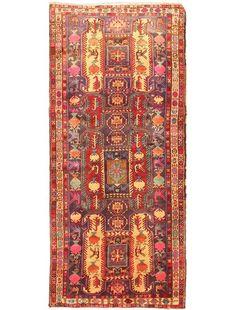 "Item 30431 : Hand-Knotted Ardabil Tribal Runner Wool Rug 4'1"" X 9'0"" : eCarpetGallery"