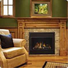 Mendota Hearth gas fireplaces and gas fireplace inserts are available with endless design possibilities. Transform your home's focal point to fit your aesthetic. Oak Mantle, Stone Fireplace Mantel, Fireplace Surrounds, Fireplace Design, Fireplace Ideas, Fireplace Gallery, Wooden Mantel, Fireplace Makeovers, Fireplace Pictures