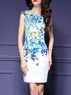 Floral Printed Split Chic Round Neck Bodycon-Dress