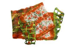 Spring sale felted wrap scarf shawl wool lace green by Katrinmania