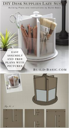21 Awesome DIY Desk Organizers That Make The Most Of Your Office Space DIY Office Lazy Susan Related posts: 21 Awesome DIY Desk Organizers, die das Beste aus Ihrem Büro machen …. DIY desk with all boards! Desk Organization Diy, Craft Room Storage, Diy Storage, Diy Organizer, Storage Organizers, Craft Desk, Office Storage, Craft Rooms, Organizing Ideas