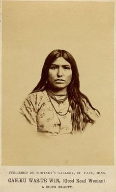 Full: Front Photograph, studio portrait of a Sioux female, CAN-KU WAS-TE WIN (Good Road Woman), wearing dress and necklaces. Carte de visite © The Trustees of the British Museum Native American Pictures, Native American Beauty, Native American Tribes, Native American History, American Indians, American Symbols, Native Indian, Native Art, Red Indian