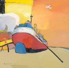 "Косенков Александр ""Чуваки на Чумикане"", холст, масло, 2011, 100х100 http://shop.erarta.com/ru/shop/artists/detail/48924cd9-f356-11e1-be74-8920284aa333/  #erarta #art #contemporary #sea #orange #artist #landscape #oil #canvas"