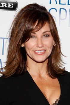 long hairstyles for women over 50 | Picture of Gina Gershon Curled Out Long Bob With Bangs /Getty Images ...