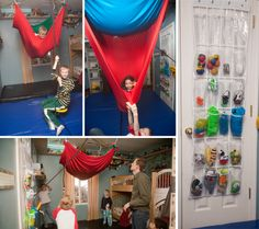 "Mosey's Days Hung up a sensory ""cloud"" in the sensory room. they spend HOURS… Sensory Rooms, Autism Sensory, Sensory Activities, Sensory Play, Sensory Tubs, Motor Activities, Sensory Diet, Sensory Issues, Sensory Integration"