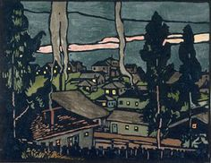 William S. Rice - Twilight - East Oakland. woodcut