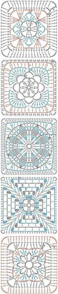 Zde je několik skvělých babička čtvercovým vzorem grafy.  Zdroj zde.