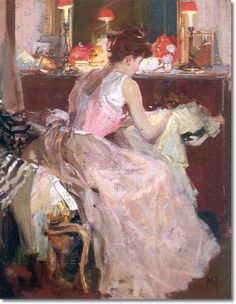 Richard Edward Miller - Sewing by Lamplight 1904 Painting