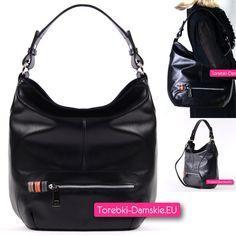 Włoska czarna torba damska ze skóry typu Nappa - pojemny worek na ramię w pięknym designie. Zobacz więcej zdjęć -> http://torebki-damskie.eu/skorzane/1378-czarna-torba-miekkiej-skory-nappa.html
