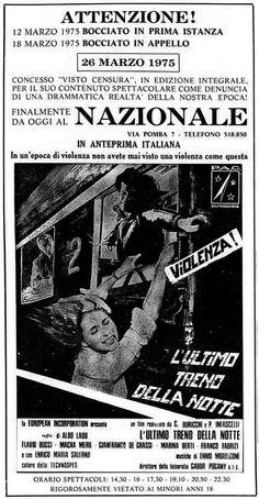 """""""L'ultimo treno della notte"""" (1975) di Aldo Lado, con Flavio Bucci e Macha Méril. Italian release: April 8, 1975 #MoviePosters"""