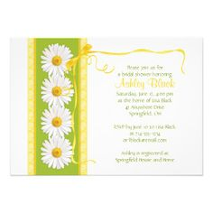Green Yellow Shasta Daisy Bridal Shower Invitation