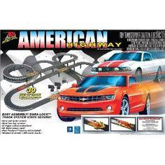 Life-Like American Highway Mustang  and  Camaro electric Slot Car Race Set. American Highway Race Set - 30 ft.