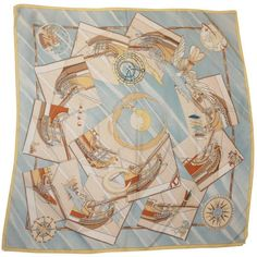 """Preowned Hermes Pastel Blue """"face An Large"""" Atlas Theme Silk Scarf ($400) ❤ liked on Polyvore featuring accessories, scarves, blue, print scarves, hermes shawl, hermès, pastel scarves and silk scarves"""
