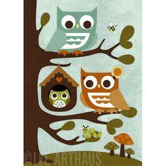 Retro Owl Parents with Baby Print