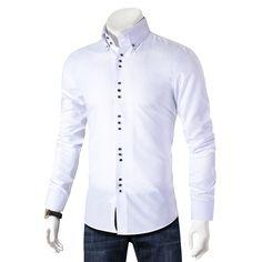 2019 New Fashion Casual Shirt Men Long Sleeve Slim Fit Men's Casual Button-Down Shirt Formal Dress Shirts Men Clothes Camisa Slim Fit Dress Shirts, Slim Fit Dresses, Fitted Dress Shirts, Short Dresses, Casual Jeans, Casual Shirts For Men, Men Casual, Smart Casual, Camisa Slim