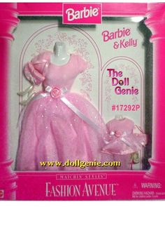 1997+fashion+avenue+barbie+and+kelly | Description: Fashion Avenue Barbie and Kelly Matching Pink Gown Set ...