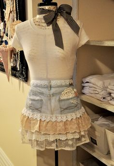 Apron made with old jeans, vintage lace and doilies/made by Karen Duncan...now I know what to do w/ my exes' old jeans, yards of lace i inherited from my Granda Doris!