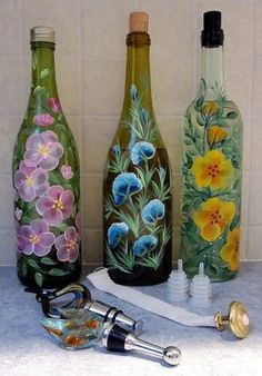 Handpainted Wine Bottles by Jenx111, via Flickr