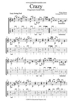"""""""Crazy"""" by Willie Nelson arranged for Fingerstyle Guitar by Bill Tyers. Music Theory Guitar, Guitar Tabs Songs, Guitar Sheet Music, Jazz Guitar, Guitar Solo, Guitar Tips, Guitar Chords, Acoustic Guitar, Ukulele Tabs"""
