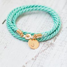 Turquoise Blue bracelet cord rope personalized nautical by Folirin, $17.50