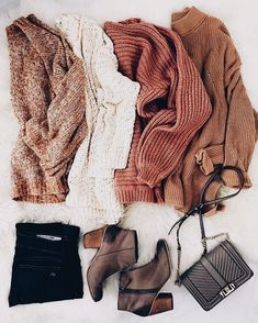 Fall knits shades sweater weather outfits, cozy outfits, winter outfits w. Mode Outfits, Casual Outfits, Fashion Outfits, Womens Fashion, Rustic Outfits, School Outfits, Fashion Ideas, Easy Outfits, Fashion Clothes