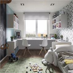 Kids Room Design Ideas with Brilliant Layout Design Kids Bedroom Designs, Kids Room Design, Home Office Design, Home Office Decor, Bedroom Ideas, Guest Bedroom Office, Small Room Bedroom, Ikea Boys Bedroom, Baby Bedroom