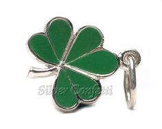 The luck of the Irish is approaching fast....get your green ready. Sterling silver Shamrock charm for bracelet or necklace.  www.silverconfett...