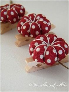 you can add a pin cushion to a close pin. If you put a push pin on the other side of the clothes pin you could pin it to a work board and clip any thing small to it Z Fabric Crafts, Sewing Crafts, Sewing Projects, Craft Projects, Sewing Baskets, Needle Book, Sewing Accessories, Sewing Notions, Pin Cushions