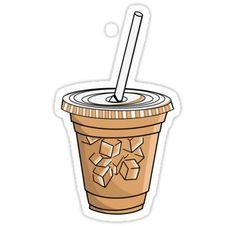 'Iced coffee ' Sticker by Lauren Alexander Homemade Stickers, Food Stickers, Meme Stickers, Snapchat Stickers, Tumblr Stickers, Phone Stickers, Journal Stickers, Printable Stickers, Geek Wallpaper