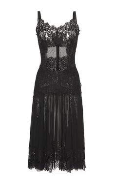 Chantilly Lace Trimmed Charmeuse Slip Dress by DOLCE & GABBANA for Preorder on Moda Operandi