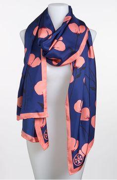 Main Image - Tory Burch 'Poppies' Silk Scarf #hellofashion
