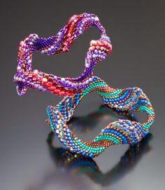 Waveform Duo Bracelet.  Peyote stitch beadweaving