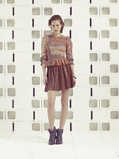 Isabel Marant Pre-Spring 2013 pleated leather skirt in black @ hu's wear now.