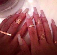 rings and nails Nail Ring, Nail Manicure, Nail Polish, Cute Nails, Pretty Nails, Plain Nails, How To Wear Rings, Nails Only, Cute Nail Designs