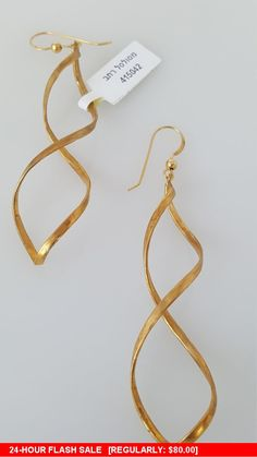 Yellow 14k Gold Filled Curved Twist or Curls Dangle Earrings kYrzP8y