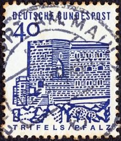 german castle stamps: GERMANY - CIRCA 1964: A stamp printed in Germany from the Twelve Centuries of German Architecture issue shows Trifels Castle (Palatinate), circa 1964.  Editorial