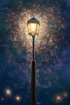 Art & Crafts Street light by Develv on DeviantArt Overweight Children Copyright 2006 Peter Nisbet Th Painting Snow, Matte Painting, Light Painting, Lit Wallpaper, Scenery Wallpaper, Watercolor Wallpaper, Narnia Lamp Post, Desenhos Tim Burton, Beautiful Nature Wallpaper