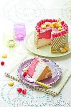 Raspberry & lemon ice cake with striped matcha joconde